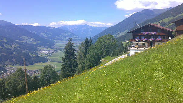 View from our farm over the Zillertal and the Zillertal Alps